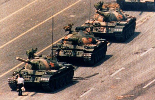 Lone Chinese Man Faces Down Advancing Communist Tank Column in Tiananmen Square June 1989