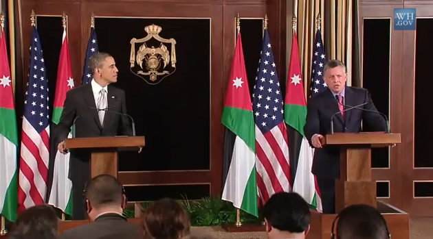 Barack Obama and King Abdullah II of Jordan WH Photo