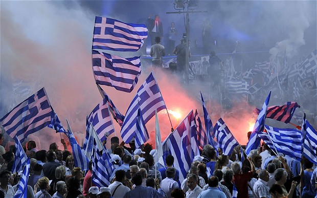 Greek Voters in the Street Following July 8 Rejection of EU Demands