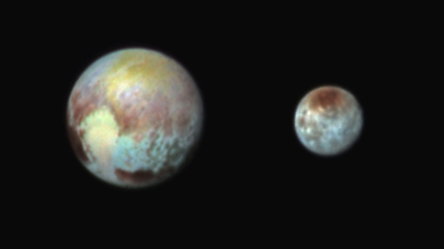 Pluto and Charon in False Color Showing Compositional Diversity