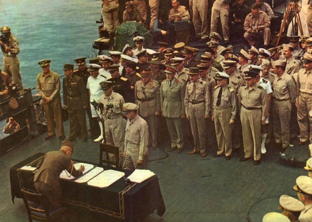 The Surrender of Japan on the Deck of the USS Missouri, 1945